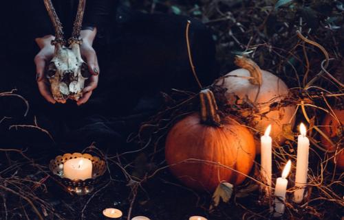 Pumpkins and candles at Halloween