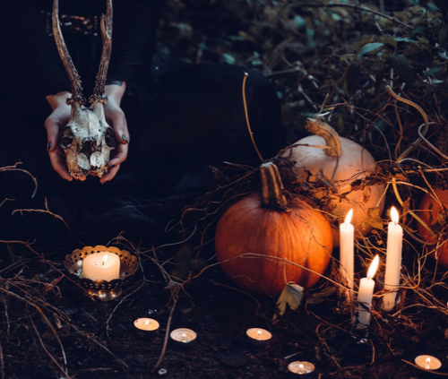 Pumpkins and candles at Halloween